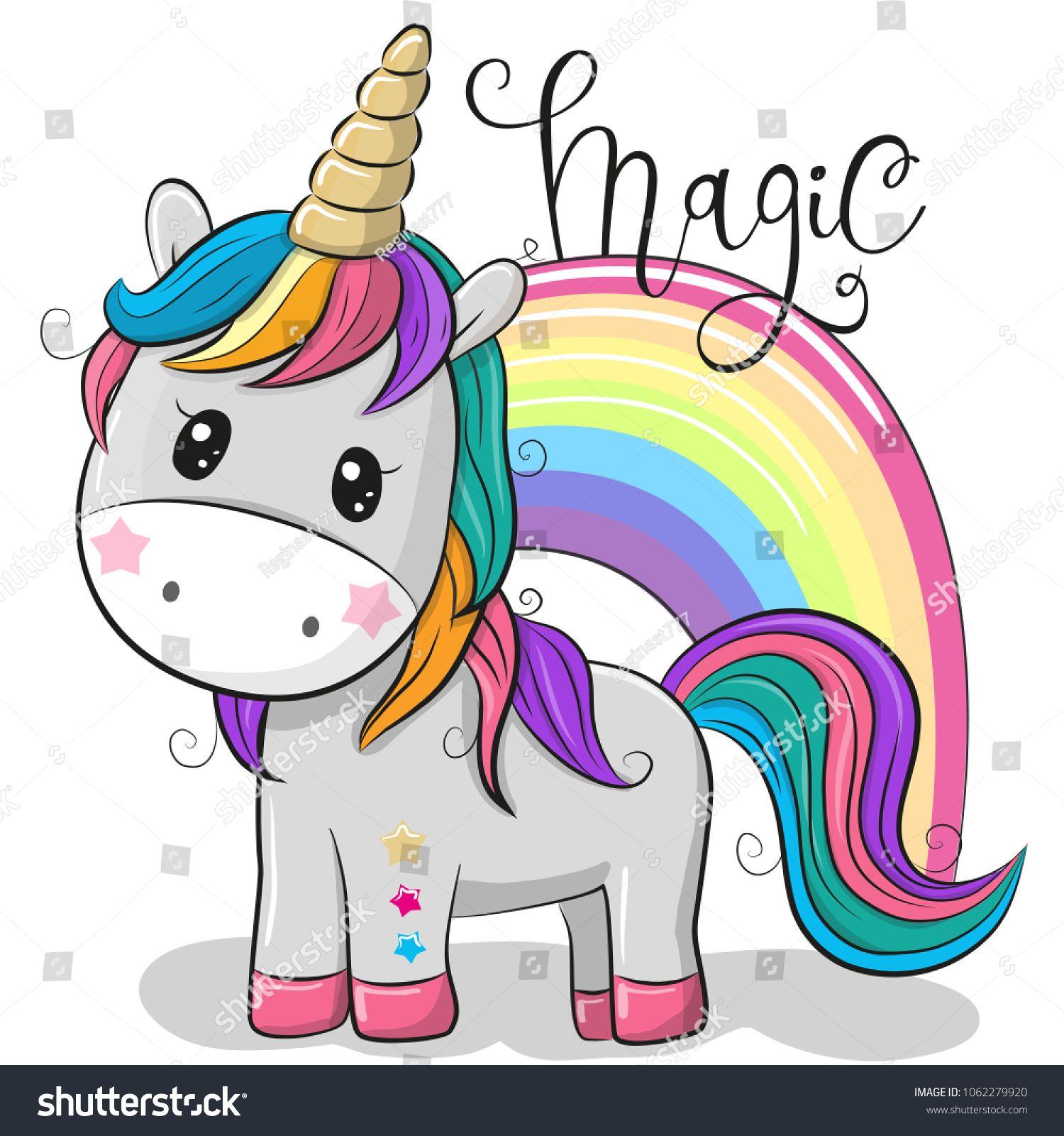 Cute Cartoon Unicorn and a rainbow isolated on a white