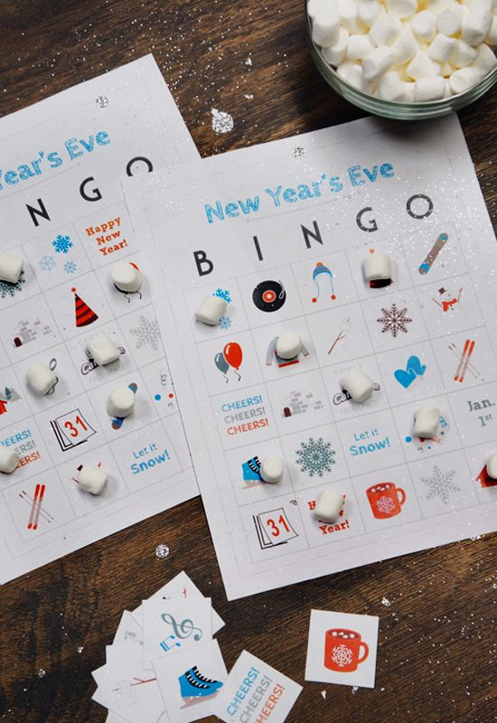 New Year\'s Eve Kids Bingo Cards // FREE Printable | Marshmallow ...