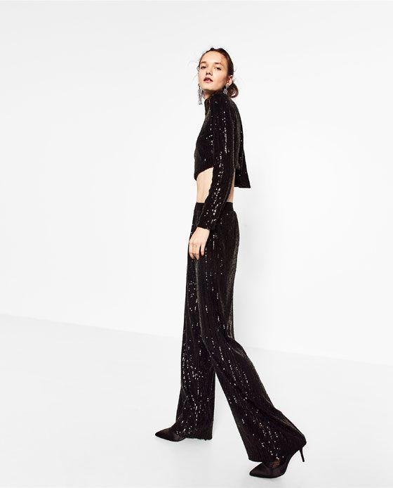 Donna Morbidi Pantaloni Fashion Zara PaillettesWomen's xthdQCsr