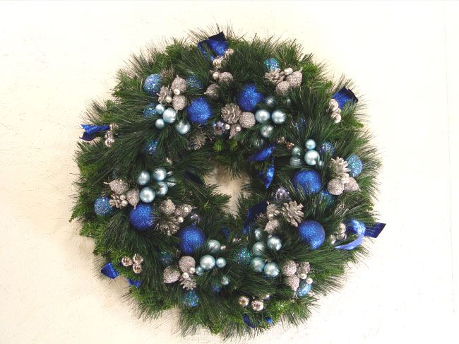 Blue Silver Christmas Wreath Bow Blue Christmas A Large Christmas Wreath Made From All Varied Large Christmas Wreath Christmas Wreath Bows Blue Christmas