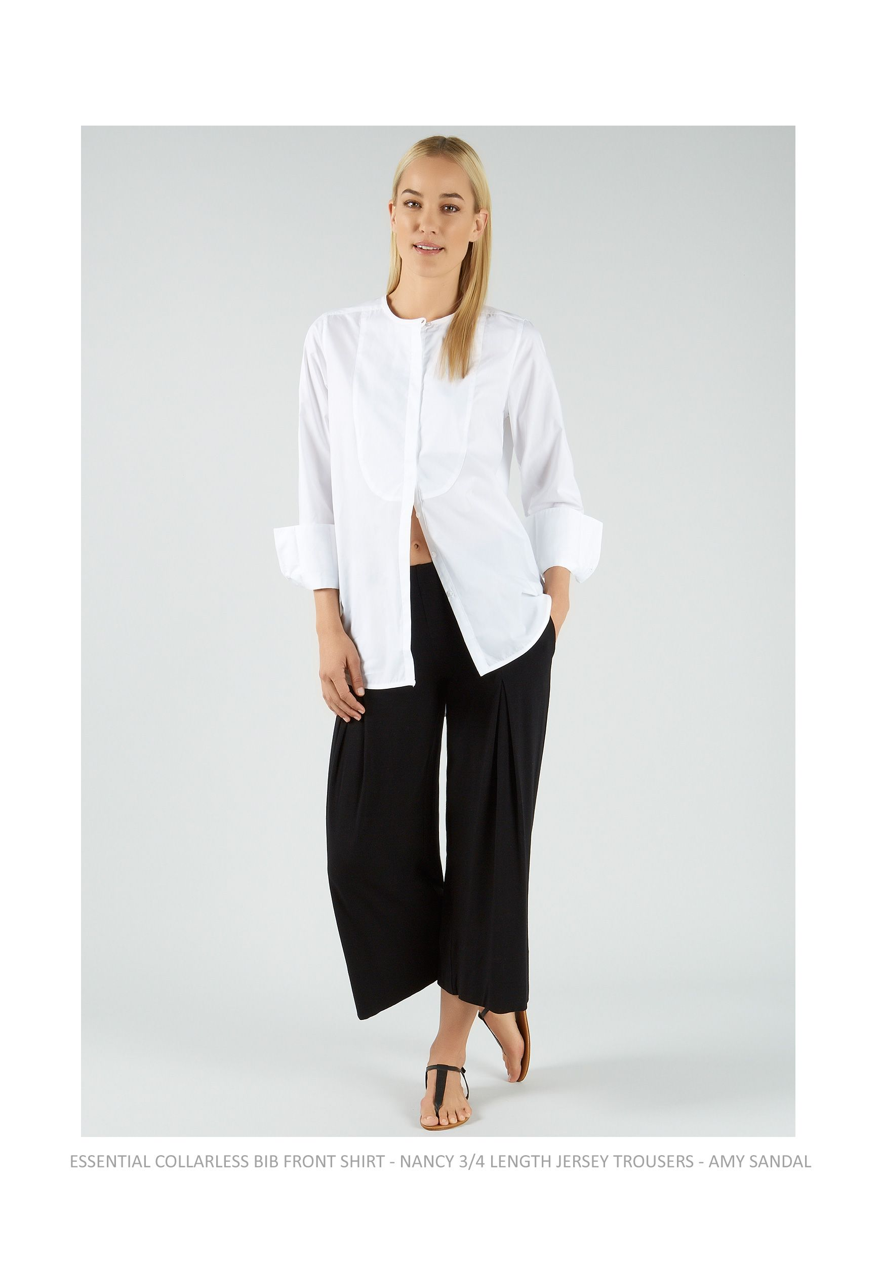 Essential collarless bib front womens shirt in crisp white for Crisp white cotton shirt