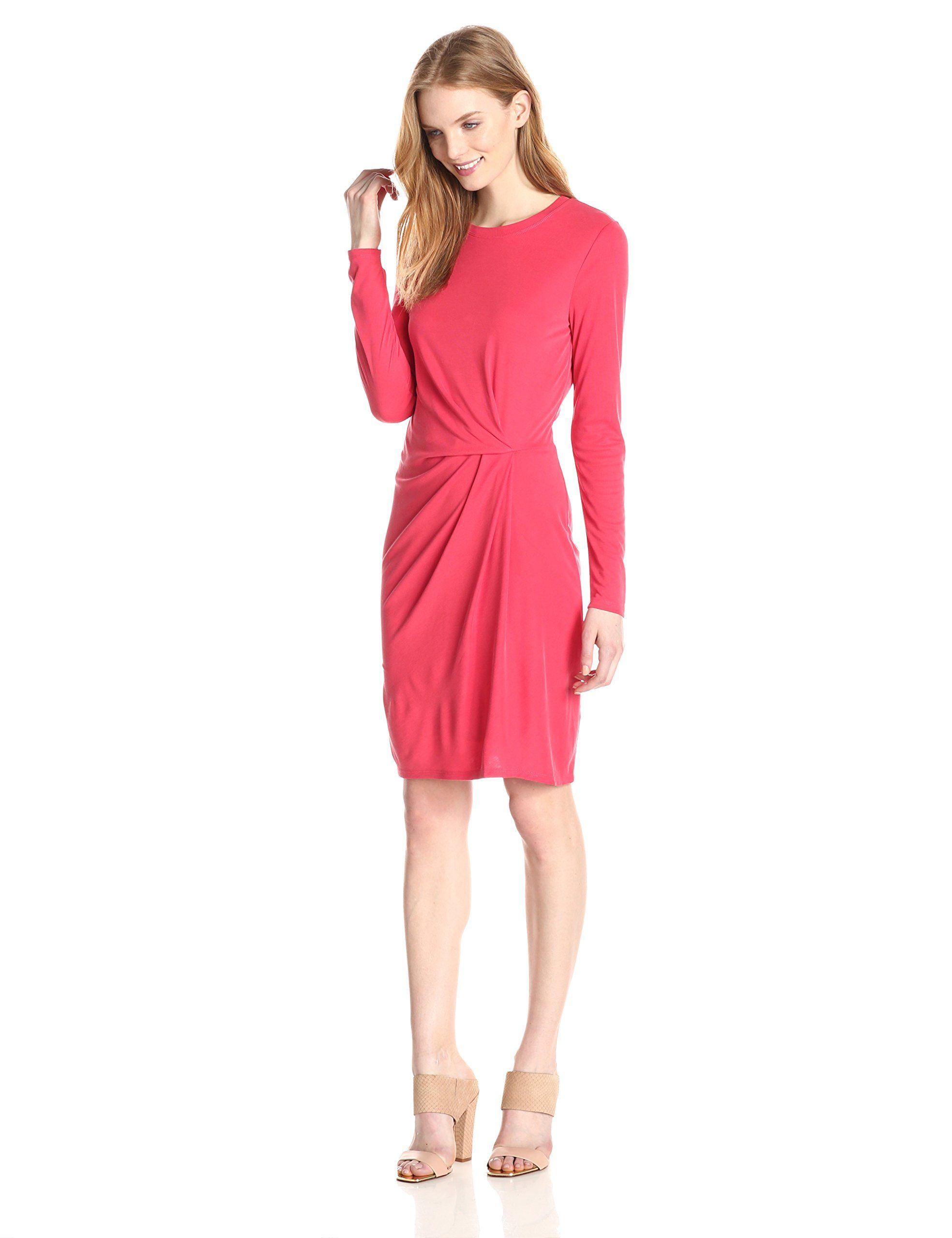 Bcbgmaxazria womenus roxie long sleeve dress with front tuck
