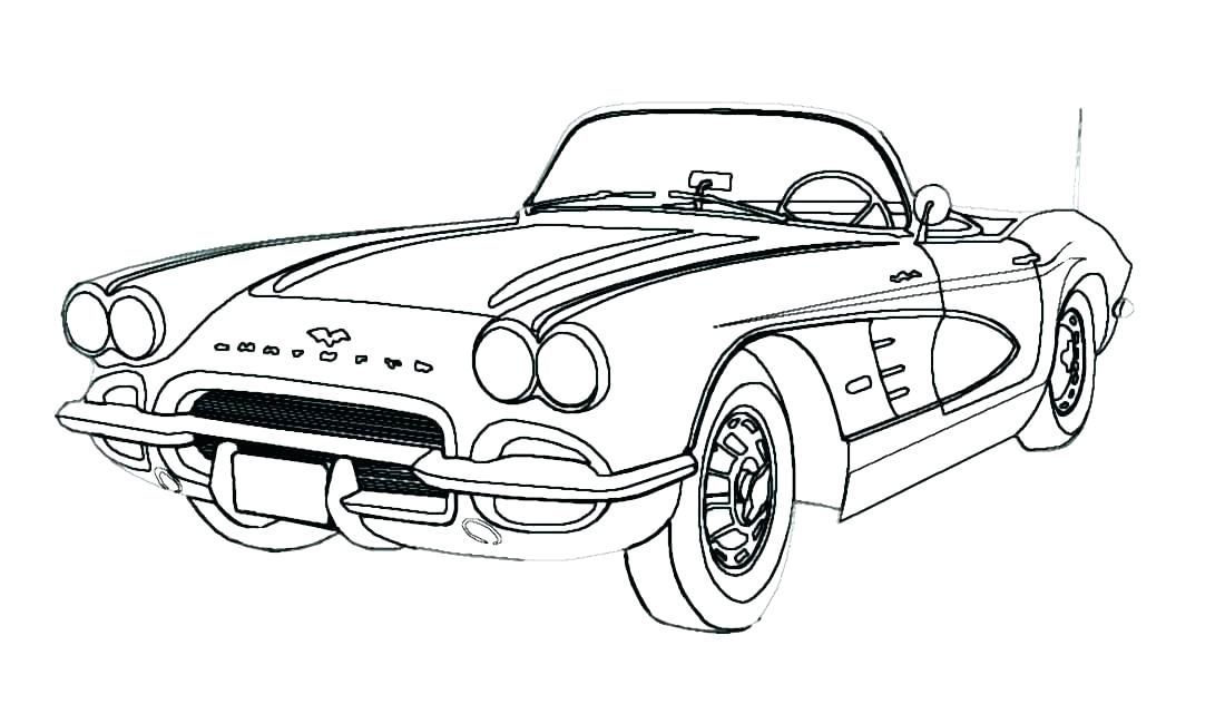 Classic Corvette Color Sheet Draw Cars Car Drawings Cars Coloring Pages