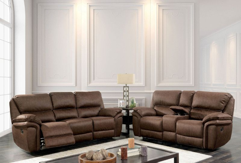 CM595 2 pc Helga brown leather like fabric sofa and love seat with ...