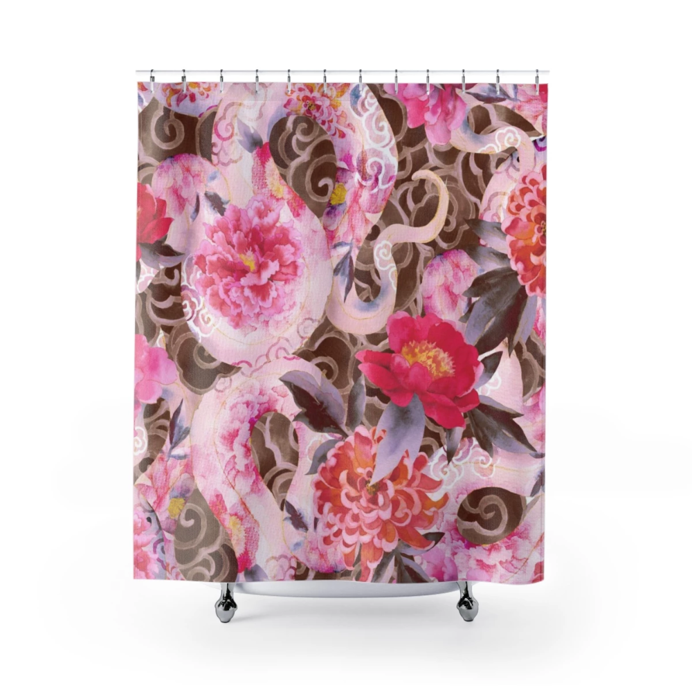 Japanese Pattern Asian Flowers Light Pink Brown Shower Curtains With Images Flower Lights Asian Flowers Brown Shower Curtain