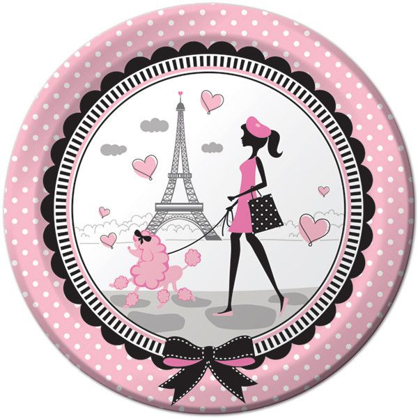 Make these beautiful 9?? round pink and black Party in Paris paper plates a part of your party. Features a stylish girl walking a poodle in front of the Eiffel