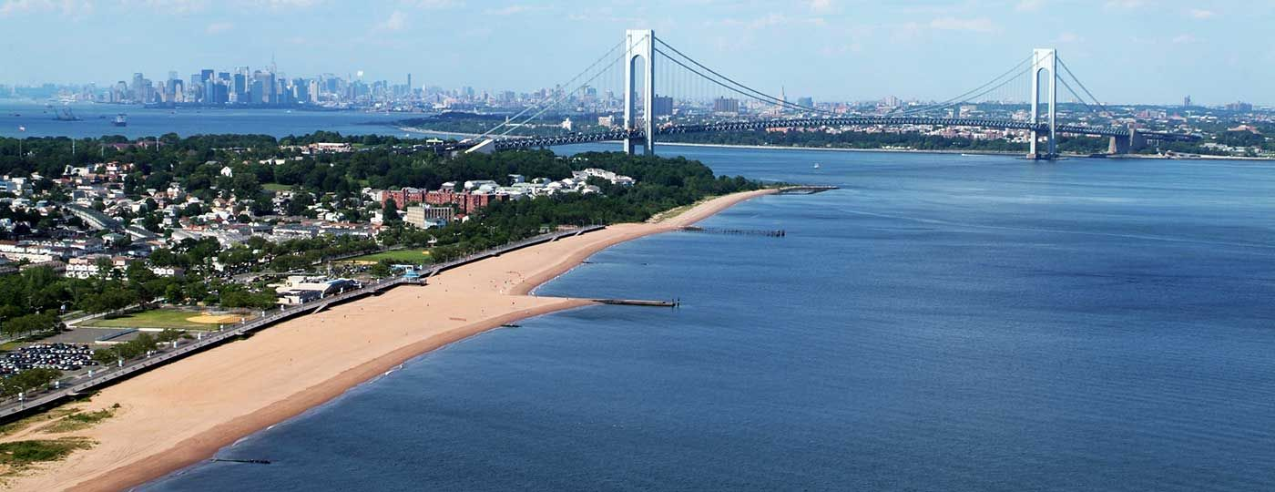 Staten Island Looking At The Verrazano Bridge And South Beach