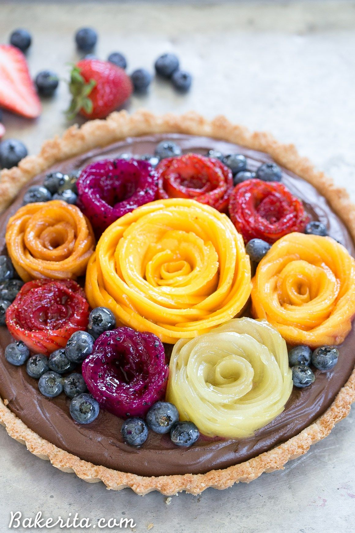 Chocolate Mousse Tart With Coconut Crust Fresh Fruit Flowers