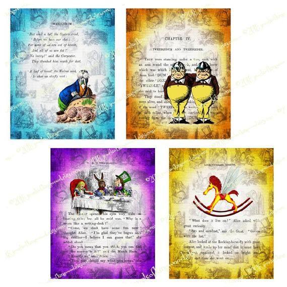 Alice in Wonderland Paper – 8×10 inch Journal Pages – Printable Digital Scrapbook Paper –  Instant D