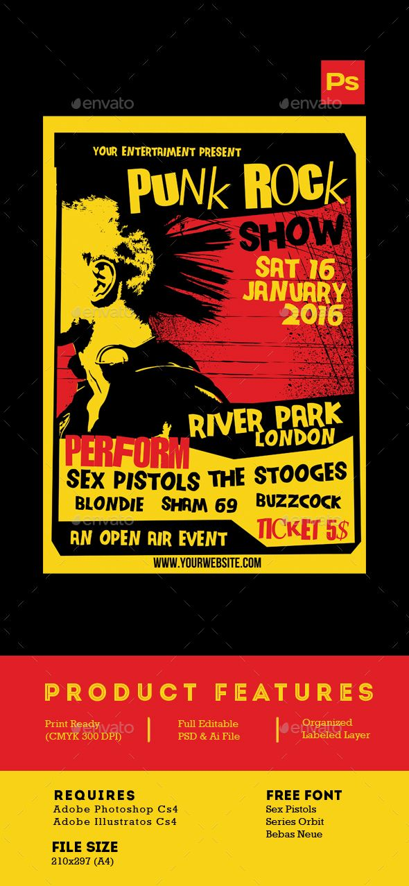 Punk Rock Show flyer tamplate Flyer template, Flyer design - event flyer templates