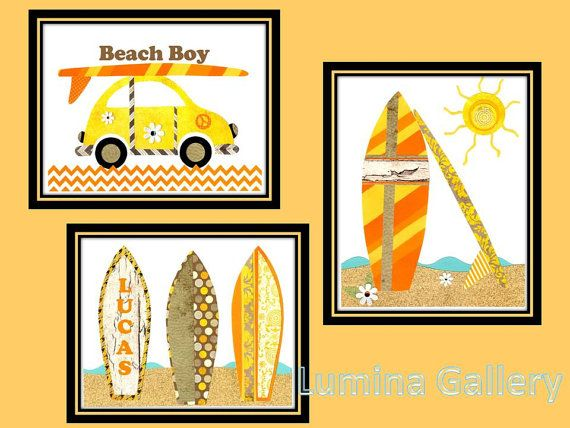 Surfboard Wall Art, Beach Boy Nursery Print, Retro 70s Inspired ...