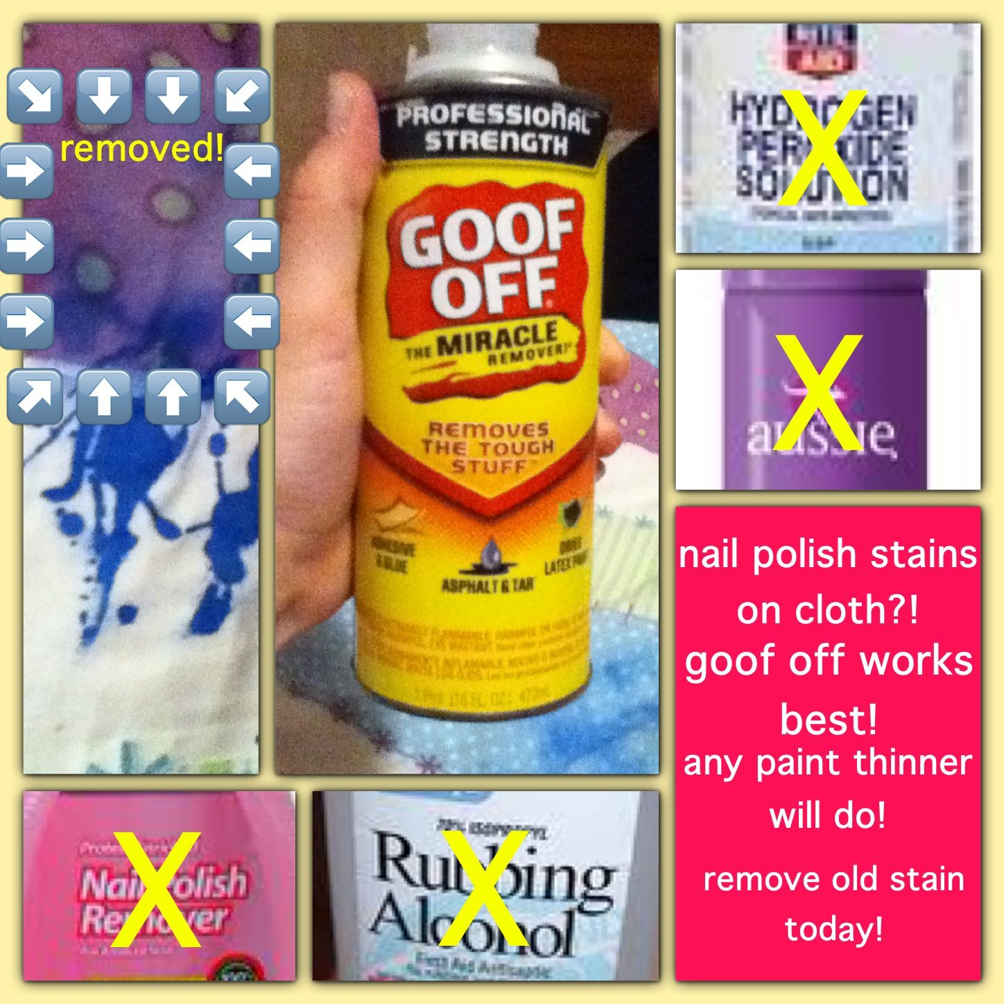 Nail Polish Remover Paint Thinner And Goof Off Can Remove Nail Polish Stain From Clothes Blankets An Stain On Clothes Nail Polish Stain Paint Thinner