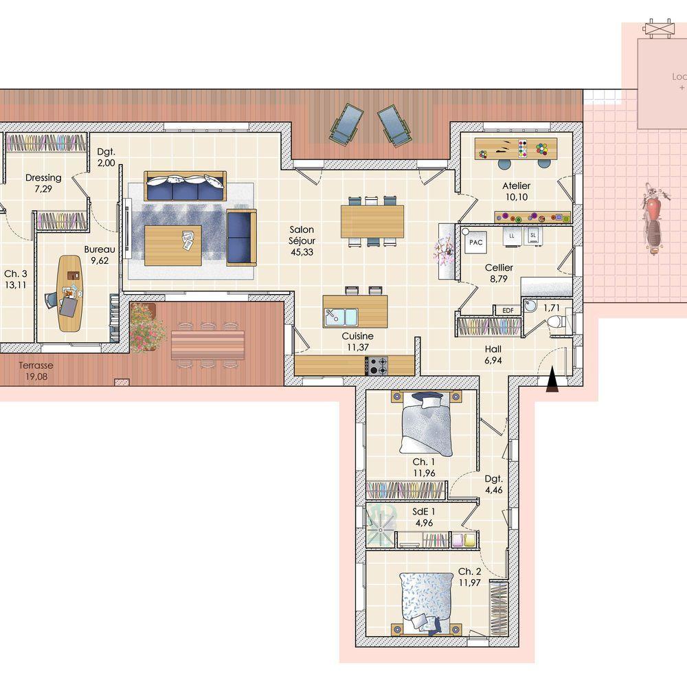 506b1f6a57aec Plan maison meublé - Une maison baignée de lumière dans les Landes
