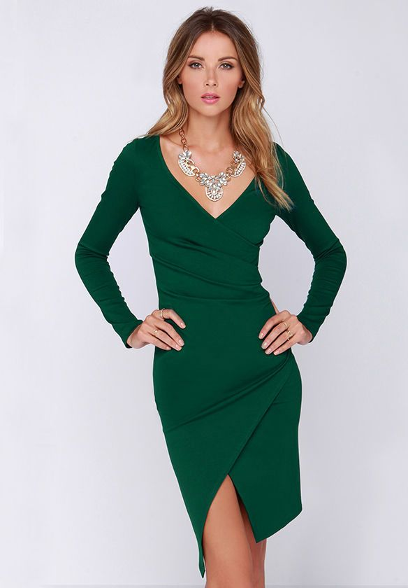 Kleid Langarm V-Ausschnitt mit Schlitz, grün 17.59 | mode ...