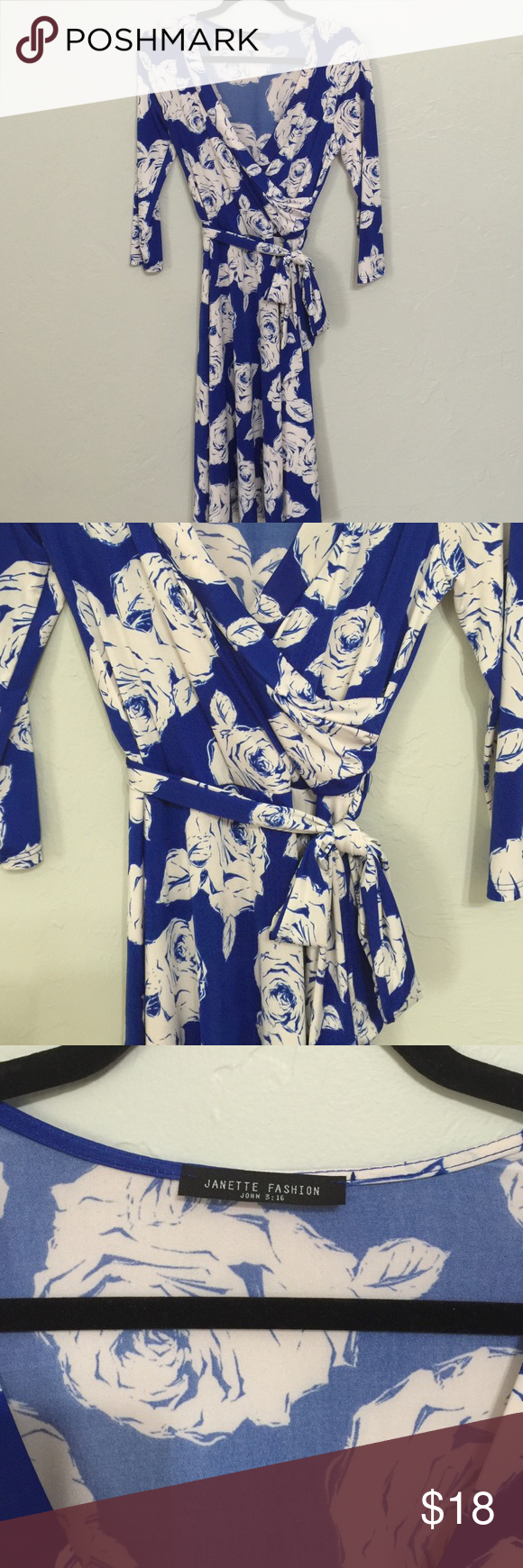 Blue faux wrap dress w/ white rose pattern - sz M BNWOT - never worn. Took off tags after ordering but never worn. Dresses Long Sleeve