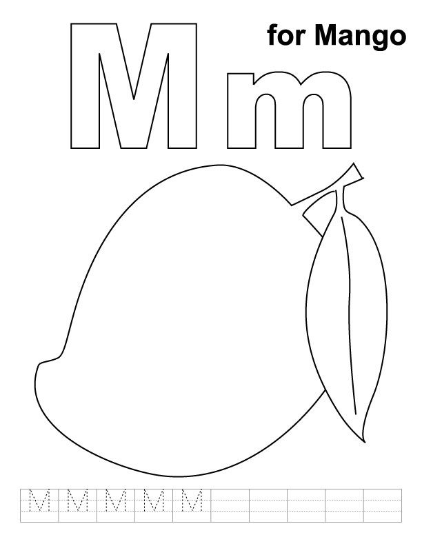 Tropical Fruits Coloring Pages Mangos 4