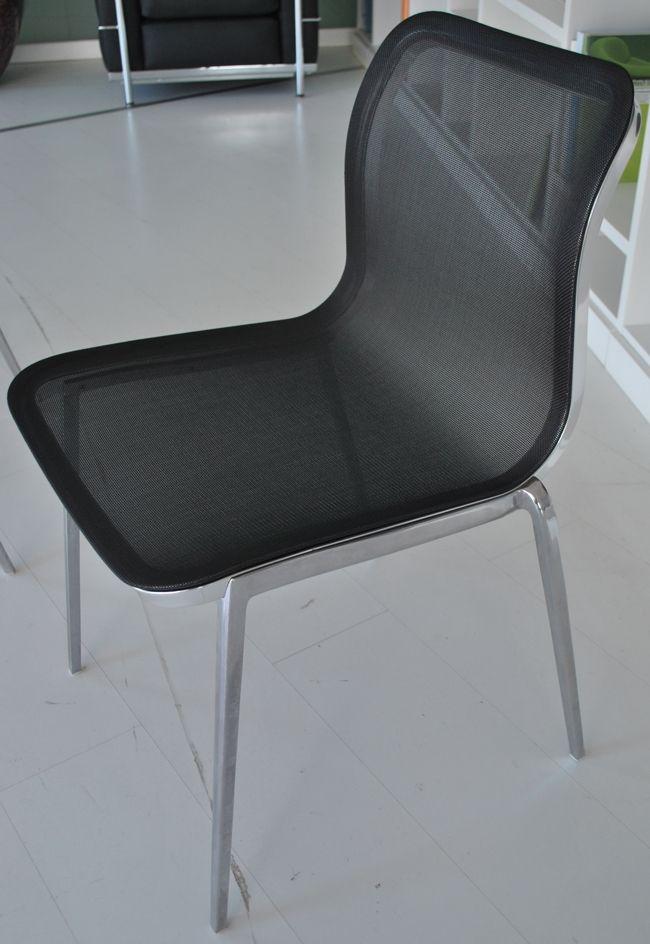 Sedia soggiorno Ycami star impilabile in alluminio nera | Sedie ...