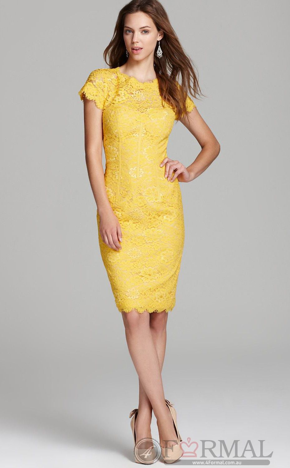 Yellow Gold Cocktail Dresses with Sleeves