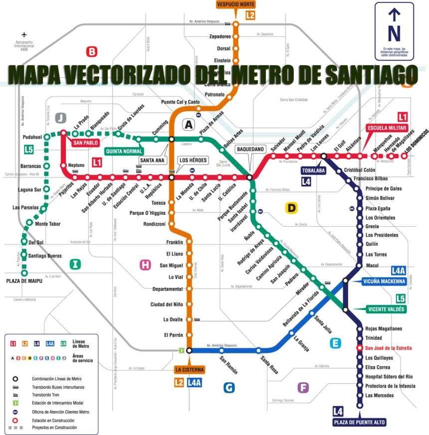 Santiago Subway Map.Metro De Santiago De Chile Santiago Subway Infografia