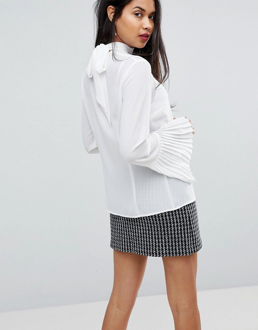Sisley Tie Neck Sheer Blouse With Pleated Sleeves - White 0fdcd1dbe