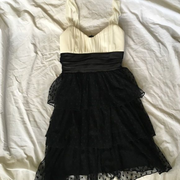 Polka Dot Tulle Formal Dress Absolutely adorable for high school homecoming or other dances. The top is slightly padded and the straps are very comfortable. The big tie in the back hides the small rip in the tulle that is shown in the last photo. Trixxi Dresses Mini