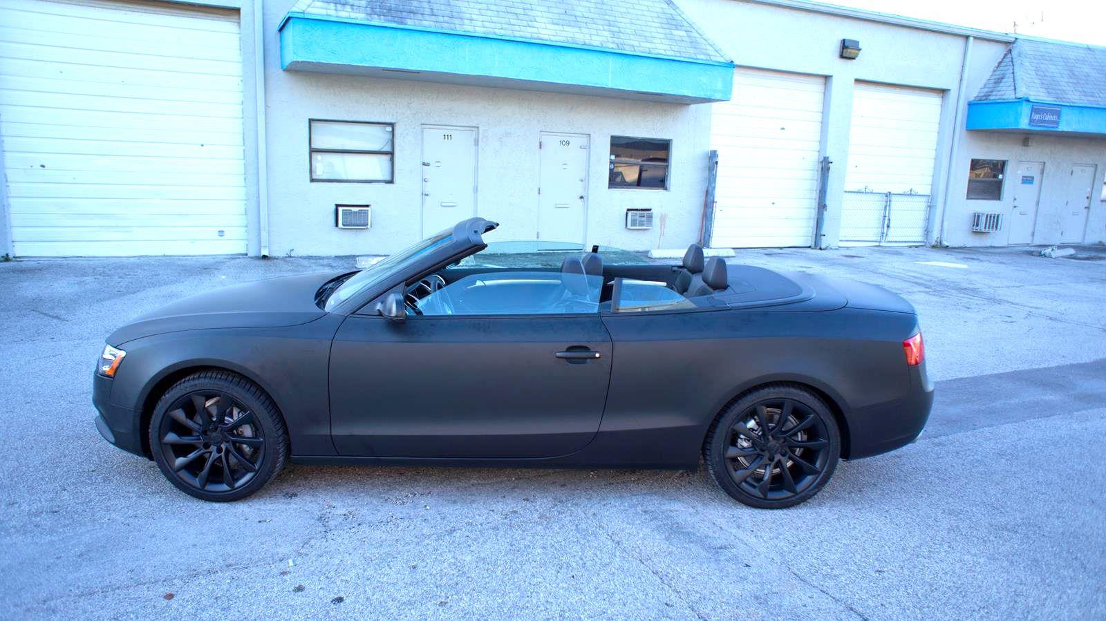 Audi a5 flat matte black 3m car wrap miami florida http