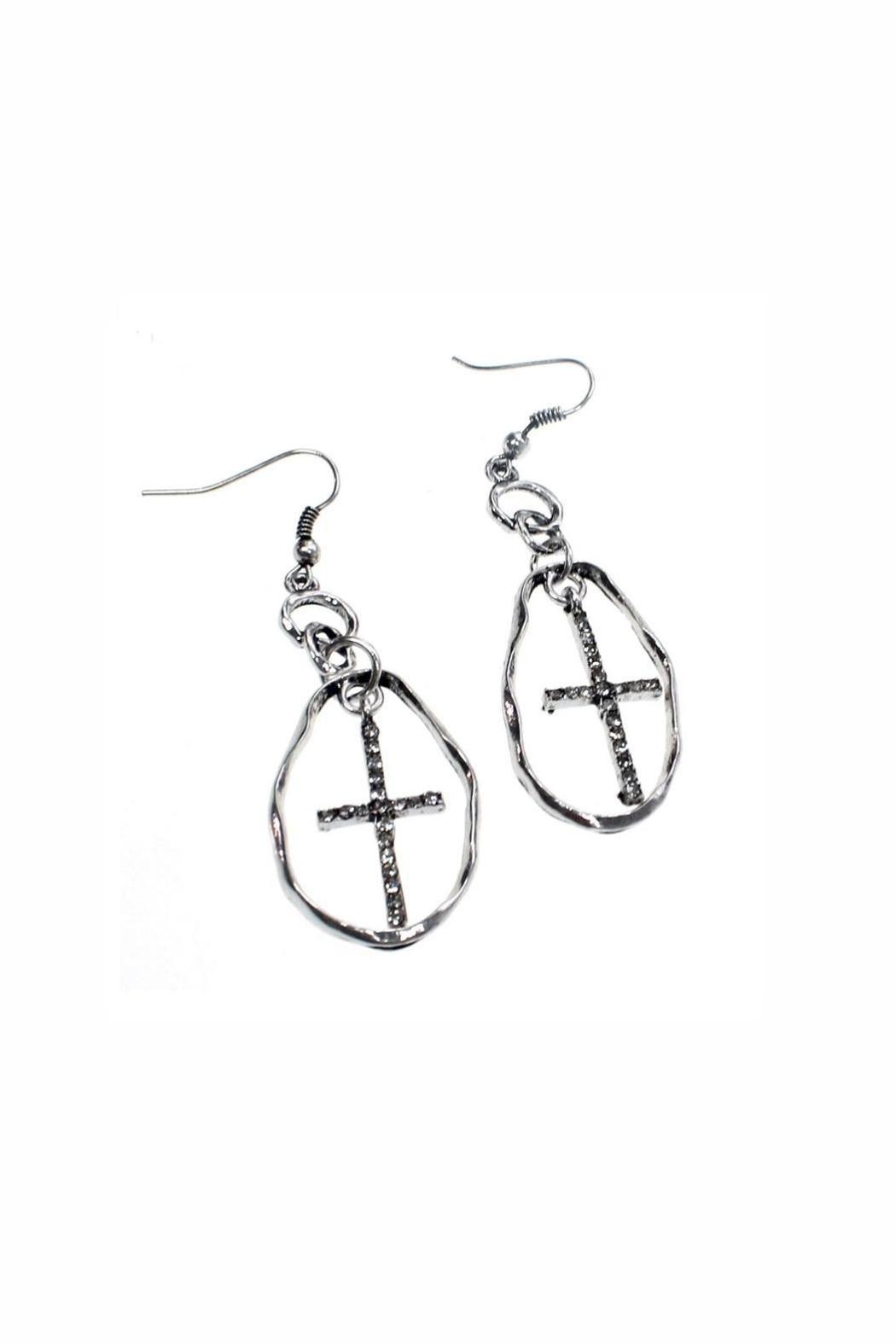 Oval Hoop with Cross Earrings. Adds Bling to just about anything.   Hoop Cross Earrings by Sweet Lola. Accessories - Jewelry - Earrings California