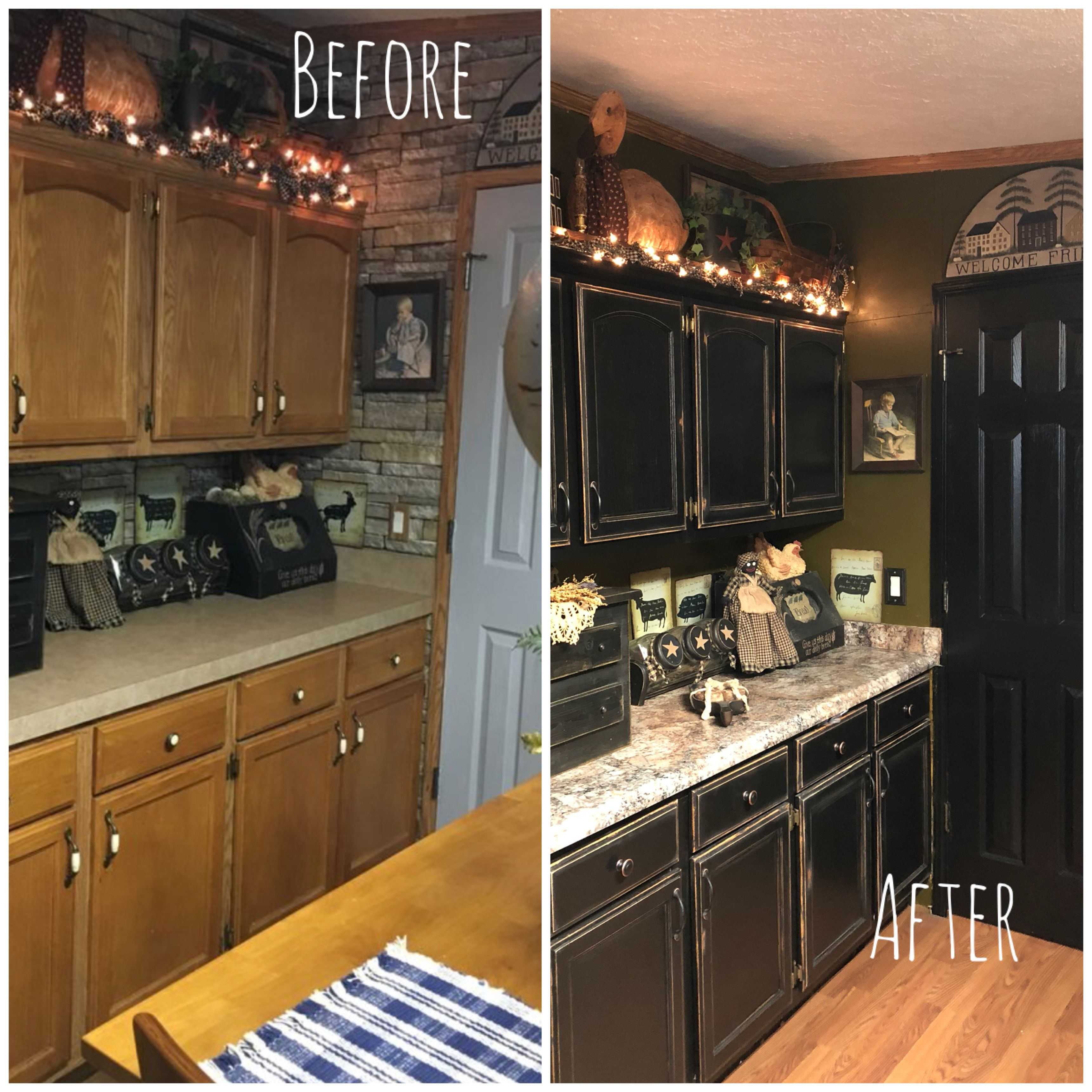 Primitive Kitchen Before And After Kitchen Cabinet Remodel