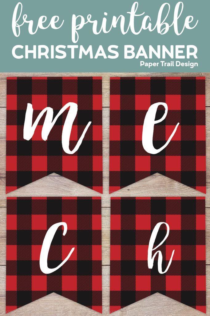 Kostenlose druckbare Frohe Weihnachten Banner   – Pretty Printables