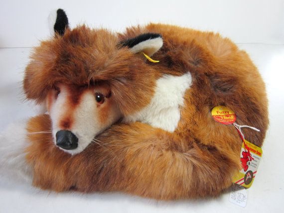 for sale vintage steiff lying fuzzy fox 14 5 l 1977 90 id1542 35 animal toy doll mohair. Black Bedroom Furniture Sets. Home Design Ideas