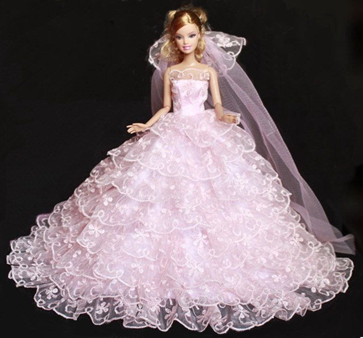 White Strapless Chapel Train Tulle Wedding Dress with Lace for 11.5 inches Doll