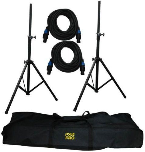 """PylePro PMDK102 Heavy-Duty Aluminum Anodizing Dual Speaker Stand /& 1//4/"""" Cable"""