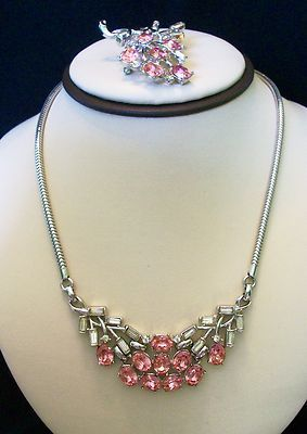 A PHILIPPE VINTAGE 1950s CROWN TRIFARI PINK RHINESTONE BROOCH PIN NECKLACE SET