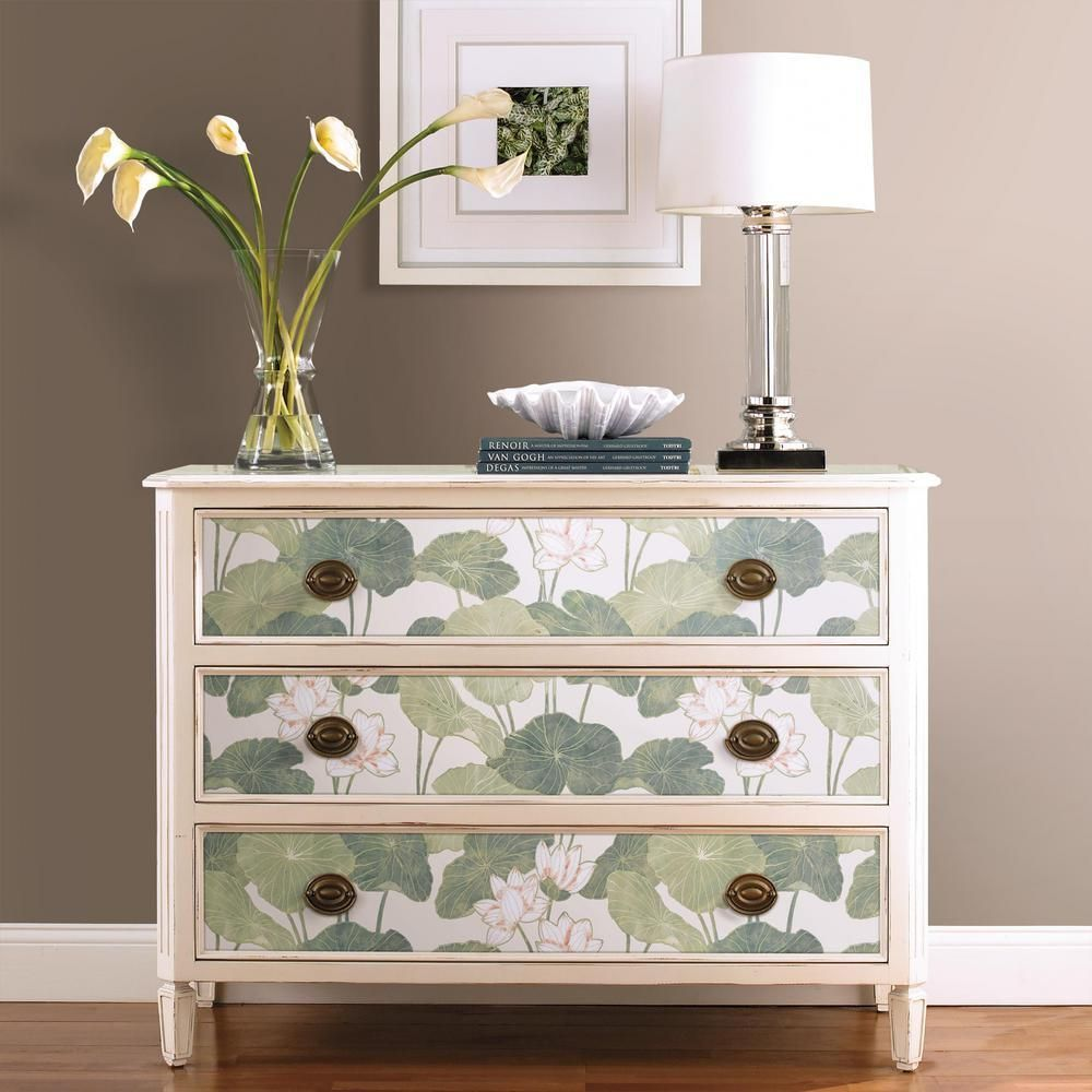 Lily Pad Peel Stick Wallpaper In Beige And Green By Roommates For Yo Wallpaper Furniture Diy Dresser Makeover Furniture Makeover Diy