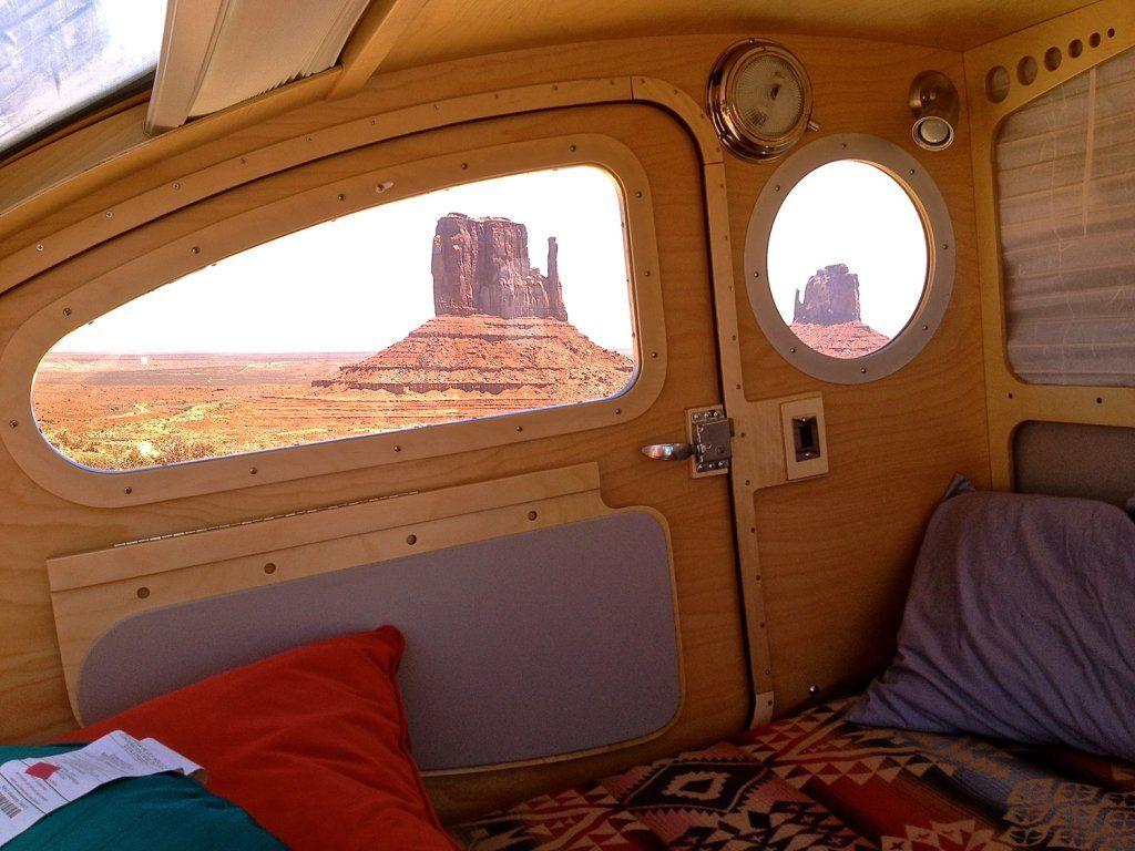 Teardrop interior cab forward windows wide in new for Teardrop camper interior ideas