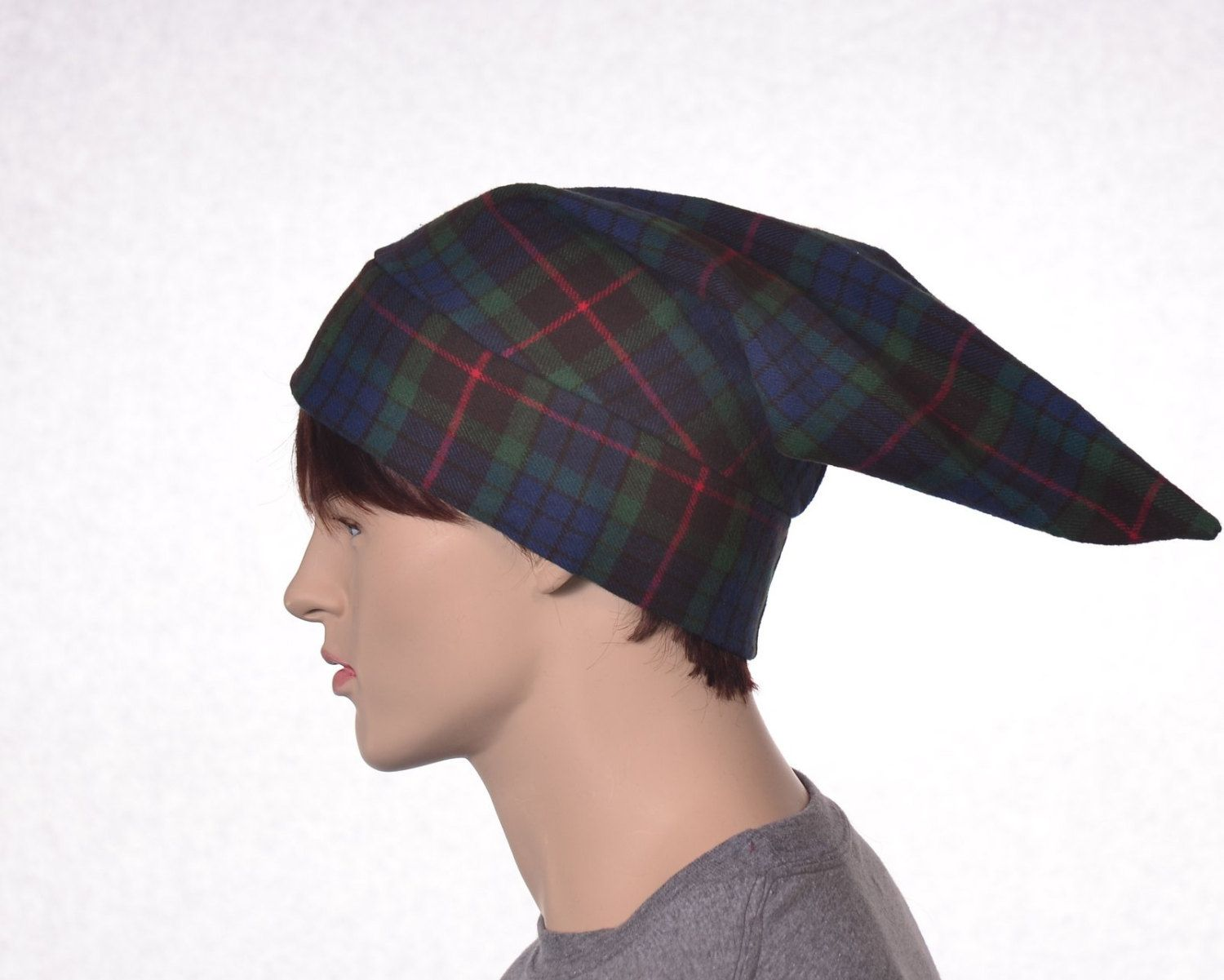 f3663fc2 Cotton Flannel Night Cap in Green Tartan Plaid Heavyweight Nightcap ...