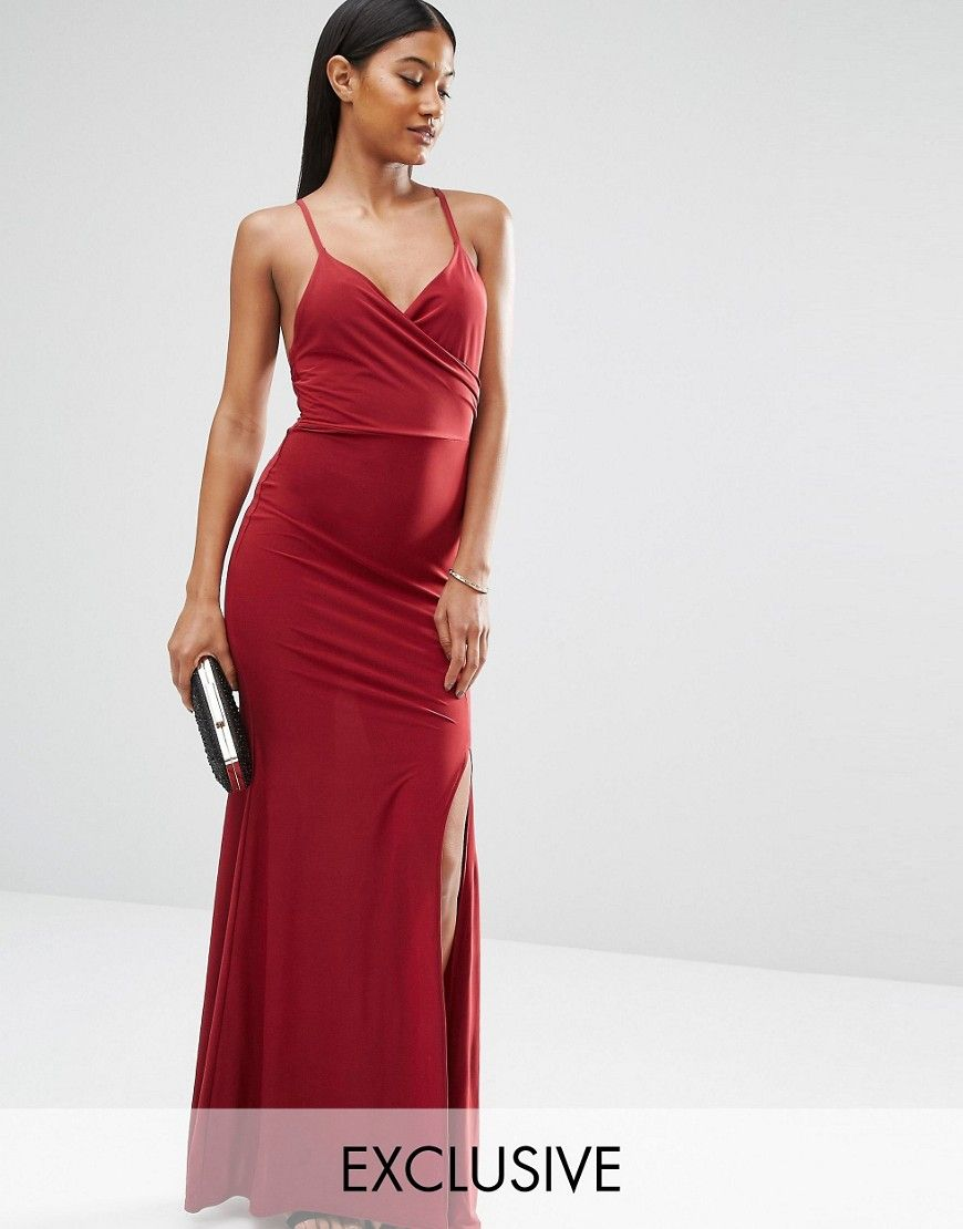 ee1cc23b475 Image 1 of Club L Slinky Wrap Over Maxi Dress with Cross Back ...