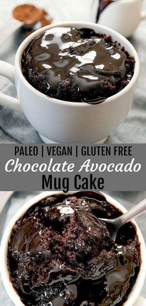 Flourless Chocolate Avocado Mug Cake (Paleo, Vegan, Gluten Free)