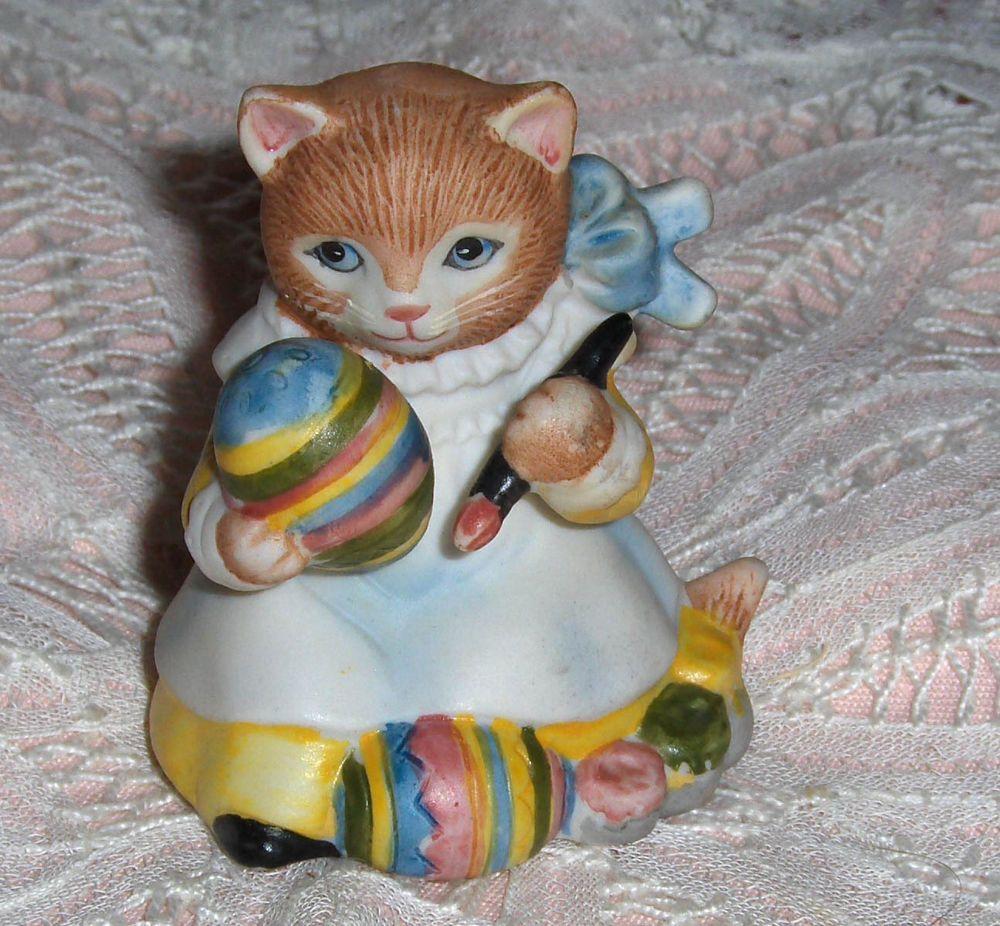 Vtg Kitty Cucumber Cat Figurine Porcelain Ginger Schmid Cat Painting Easter Egg