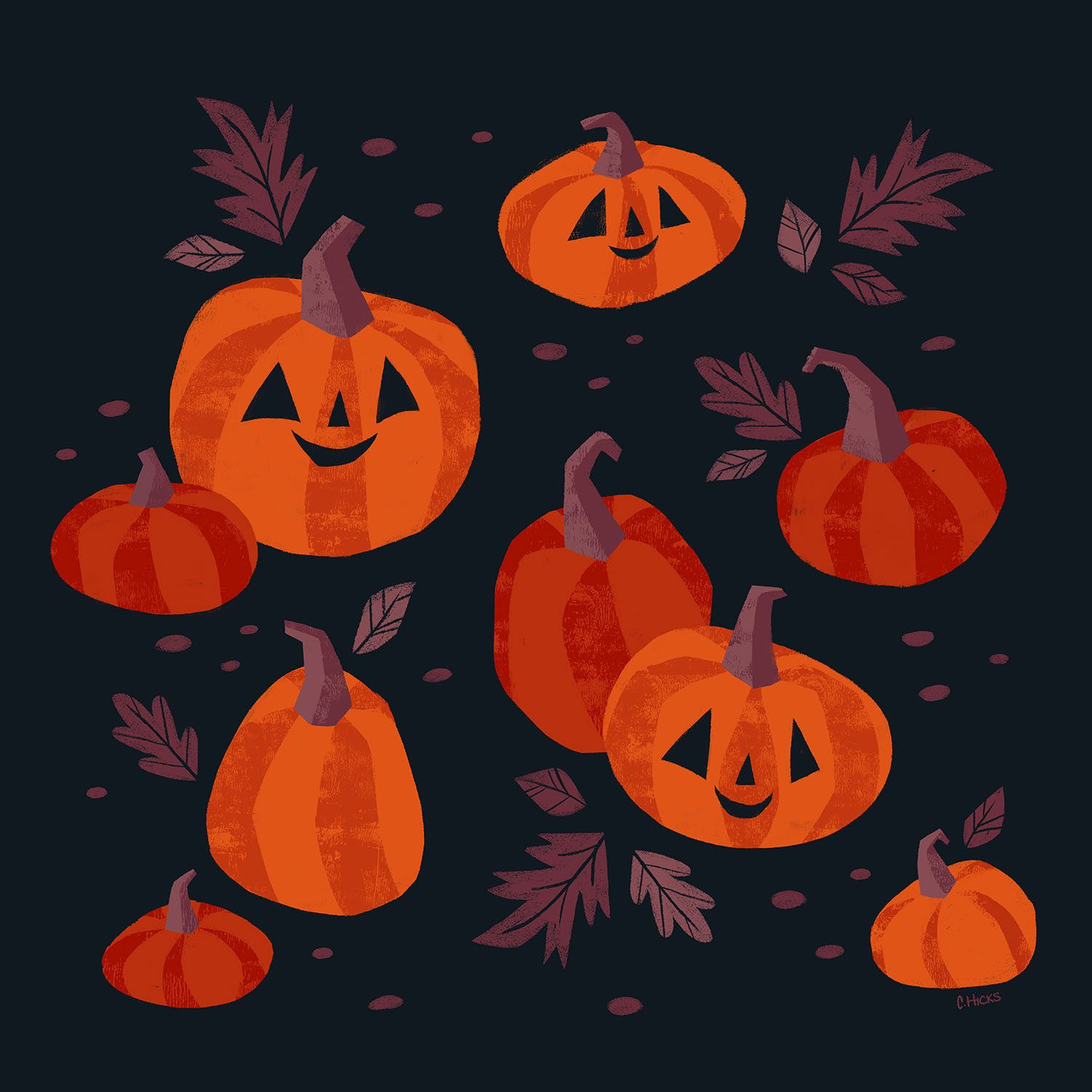 Pumpkins patch illustration Halloween illustration