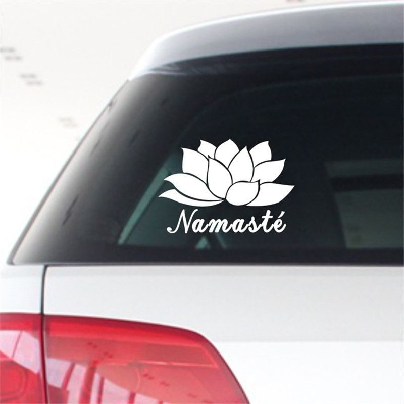 Glossy film on car namaste flower and text india yoga adhesive lettering hollow cool personalized car