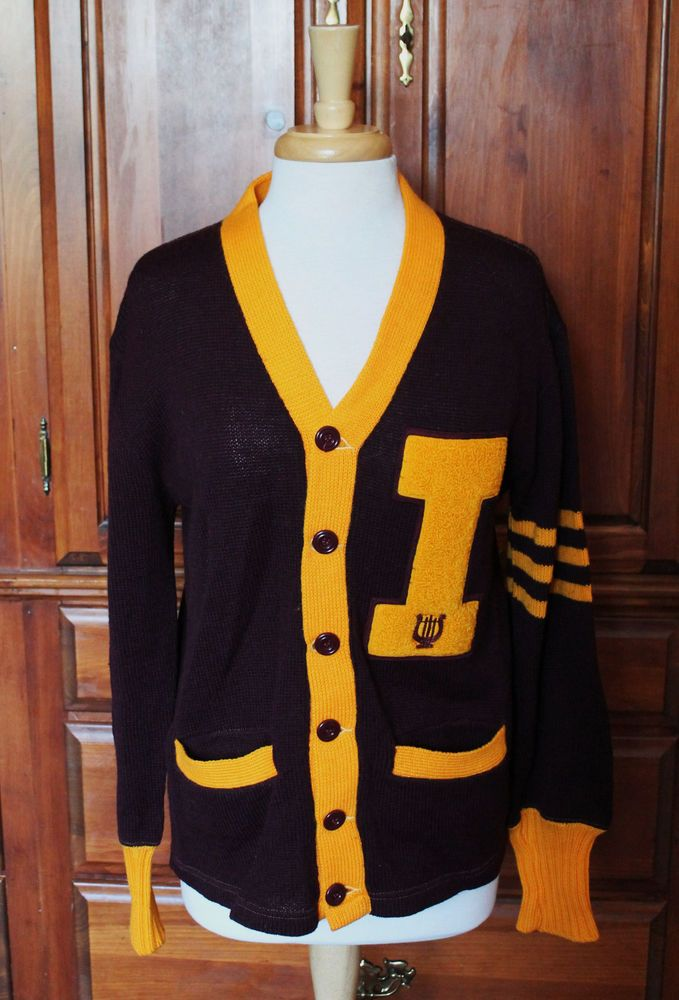 Vintage Iona College NY Mens Maroon Gold Yellow Letterman Sweater ...