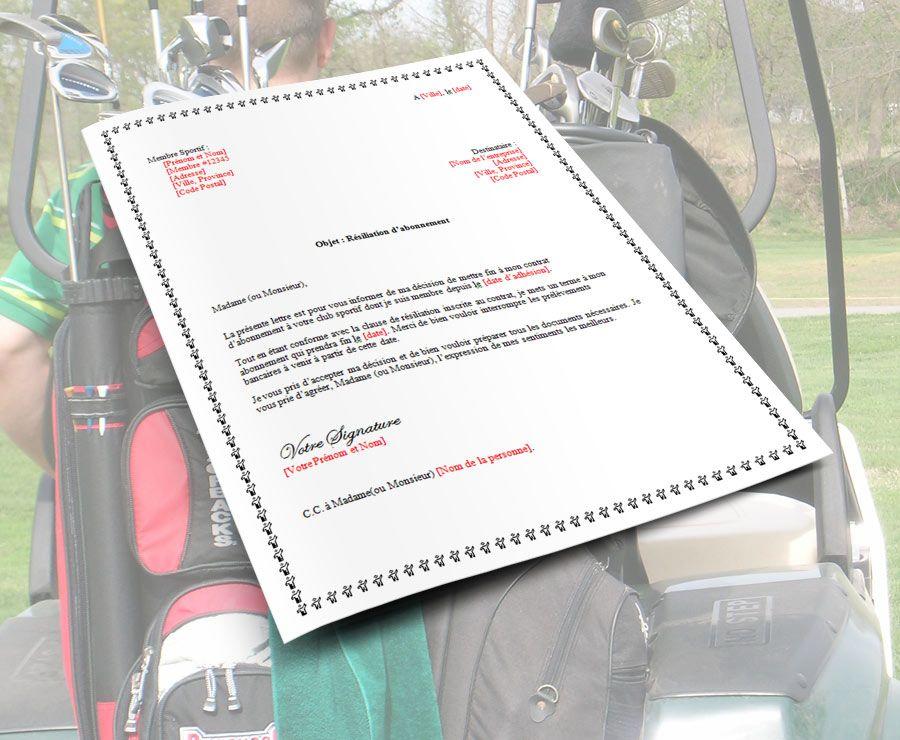 lettre de demission pour un club sportif cart golf