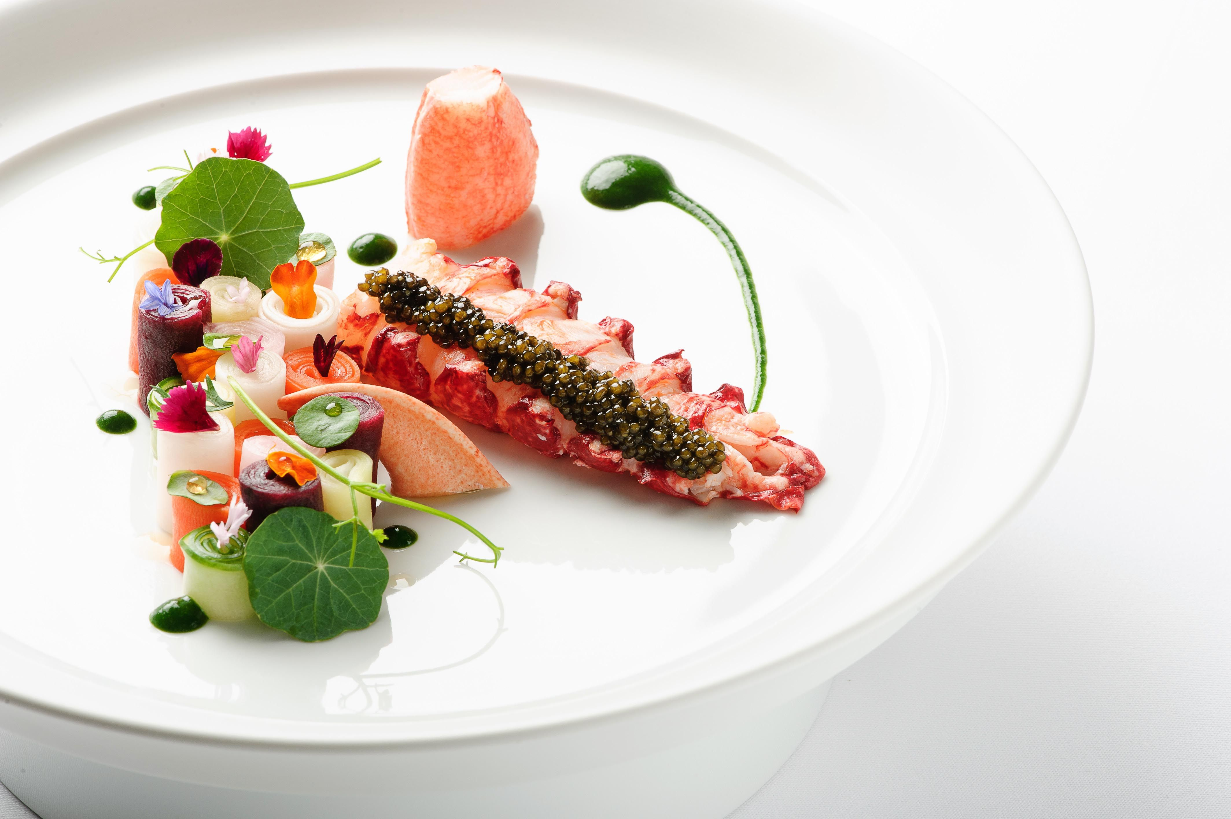 The Mandarin Grill S Lobster Dish Is A Magical Collection Of Colours And Ingredients Buttered Poached Lobst Delicious Lobster Dishes Butter Poached Lobster