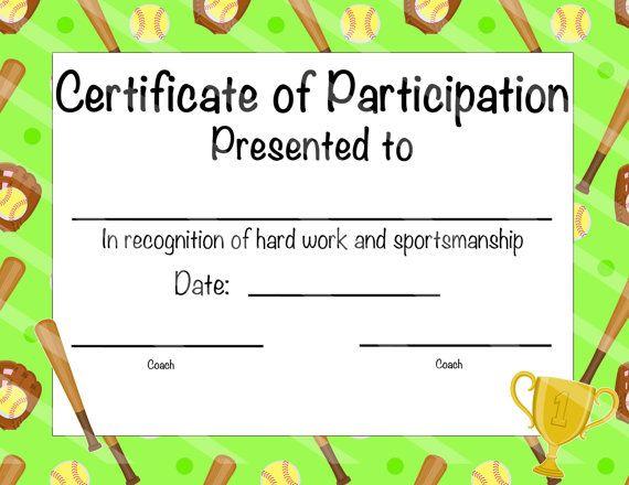 instant download softball certificate of achievement softball