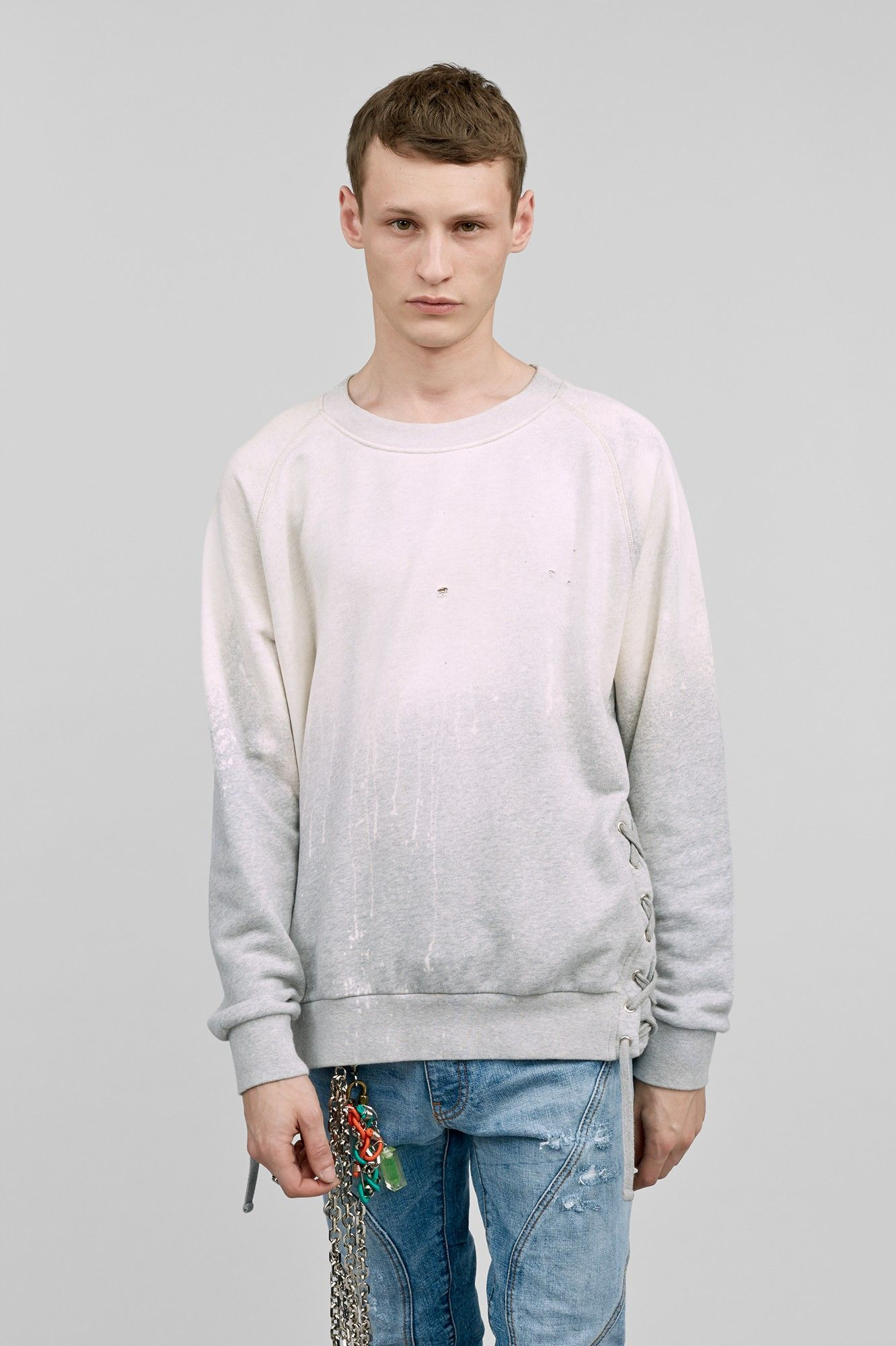 Faded sweater with lace up side  05c0195f3