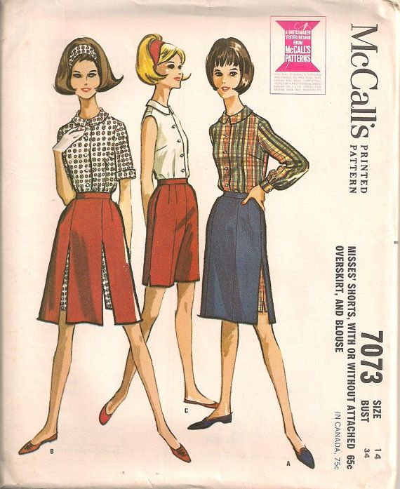 UNCUT+Vintage+1960's+Shorts+Blouse+Overskirt+by+SewPatterns,+$9.00