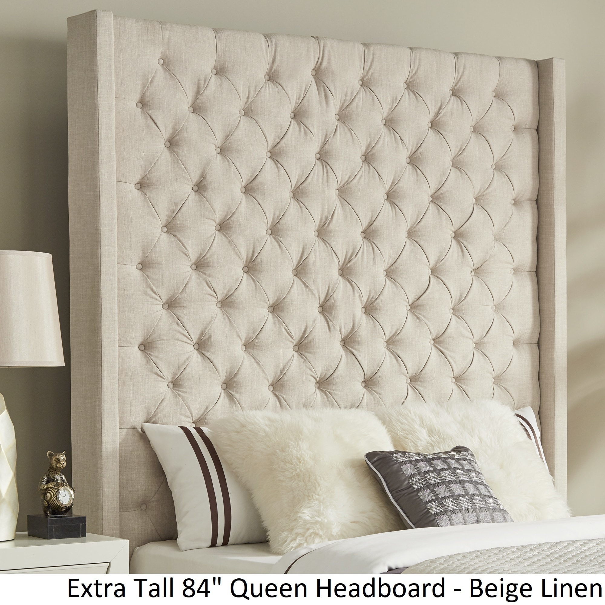 Naples Wingback Button Tufted Tall Headboards By Inspire Q Artisan Tall Headboard Queen Headboard King Bed Frame