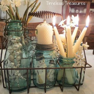 Bottle Tote and Aqua Ball Jars...we'd recommend something a little more cautious with those tapered candles...but you get the idea!