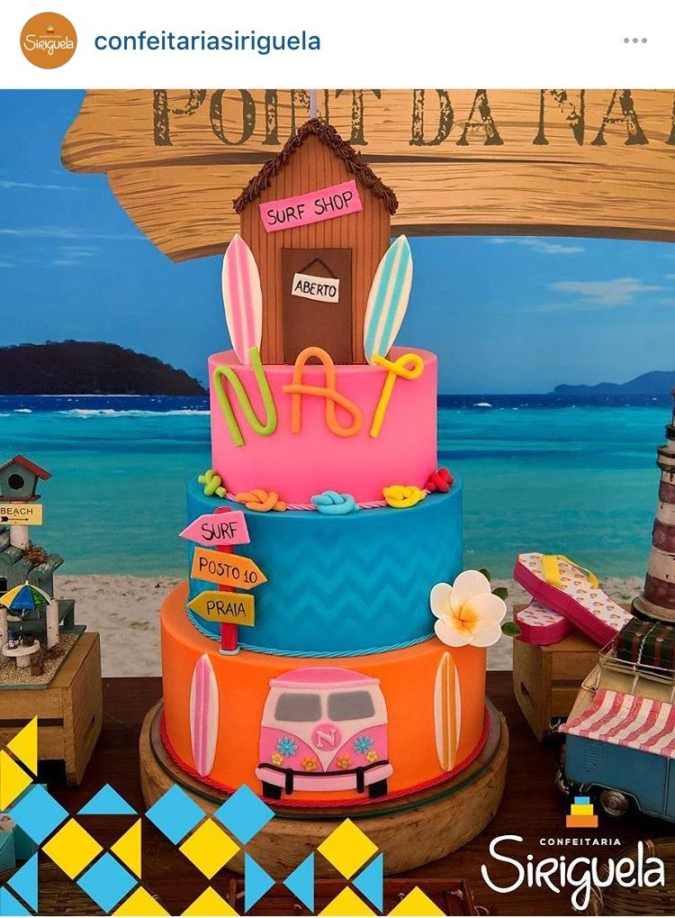 Bolo surf surf cake girl cakes party